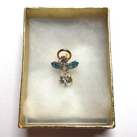 "VTG Christian Religious Lapel Hat Pin Back Angel w/Halo 1/2"" Blue Clear Stone#36"