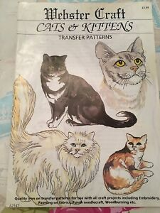 Webster Craft Favourite Cats & Kittens Transfer Pattern(Embroidery/Fabric Paint)