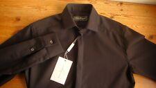 Ferragamo 100% Wool Gabardine Twill Slim Fit Shirt Black-Purple; S 36 EU-46 14.5