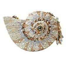 Mary Frances Handbag Nautilus Hand Beaded Pearlized Jeweled Seashell Shoulder