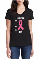 Ladies V-neck Never Give Up Shirt Pink Ribbon Breast Cancer Awareness Women's