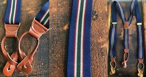 VTG BLUE CLARET RED GREEN WHITE STRIPE SUSPENDERS BRACES BROWN LEATHER FITTINGS