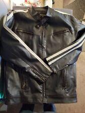 Machine Clothing Company Sz XL Jacket Racing Stripe Faux Leather PVC Black