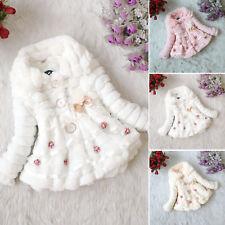 Baby Toddler Girl Faux Fur Fleece Coat Kids Winter Warm Lace Jacket Parka Bubble