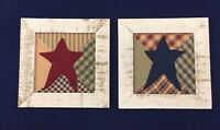 "Pair Vintage Framed Quilt Squares with Over-Stitched Felt Stars - 9"" x 9"" Rustic"