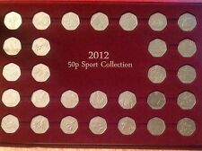 Full Set 2012 Sport Collection Olympic 50p Coins In Presentation Tray Case