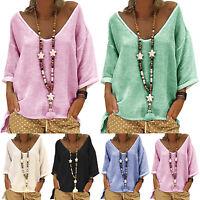 Women Cotton Linen Baggy Long Sleeve Top V Neck Loose T-Shirt Blouse Plus Size