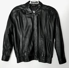Vintage Excelled Black Leather Jacket Gathers Shoulder Pads Zip Snap Size L