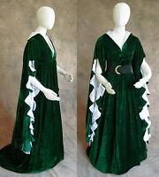 Green Scalloped Renaissance Medieval Dress SCA GOT Faire Game of Thrones LOTR L