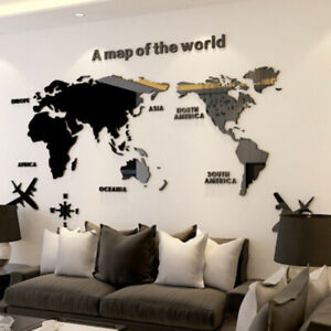 Acrylic 3D World Map Crystal Wall Sticker Creative Art Home Office Room Decor