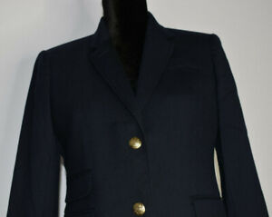 J Crew Size 8 Petite Two Button Schoolboy Blazer Navy Gold Buttons Jacket Career