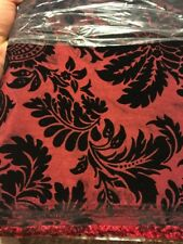 "Wine w/Black Floral Flocked Velvet - 57"" Wide Taffeta Fabric, Sold By Yard"
