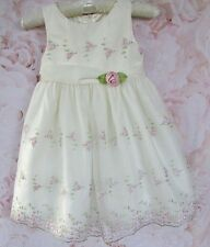 Cream Pink Floral Embellished Party Occasion Dress CINDERELLA 3- Small 4 $85