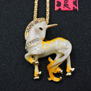 New Betsey Johnson Yellow Crystal Cute Unicorn Horse Necklace Sweater Chain