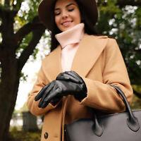 Women's Sheepskin Leather Gloves Cashmere Lining Touchscreen Friendly Fashion