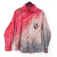 MISSION Mens sz M Red Grey Angles Medusa Lobster Graphic Button Down Shirt
