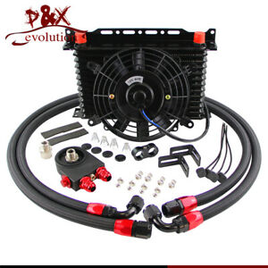 13Row 10AN Engine Oil Cooler Thermostat Sandwich Plate with Fan & Mount Bracket