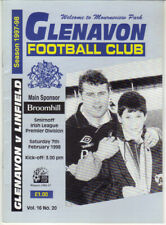 1997/98 Glenavon v Linfield - Irish League - 7th Feb - Vol 16 No 20