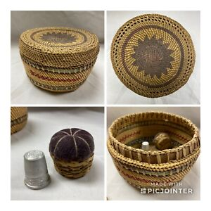 Antique Round Sweet Grass Sewing Basket  with Lid & Pin Cushion