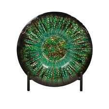 Urban Designs Shades Of Green Decorative Glass Charger Plate and Stand