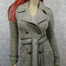 Pinko Wool Blend Belted Coat Womens XS Distressed Style Tweed Double Breasted