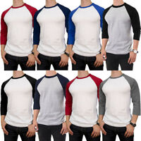 Mens 100% Cotton 3/4 Sleeve T-Shirt Baseball Jersey Raglan Team Tee New S M L XL