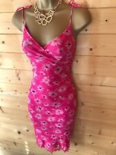 Y2K  Vintage Kookai Pink Multi Floral Boho Hippy Summer Dress Size 2 UK 10