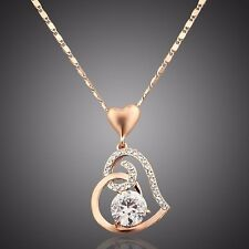 Made With Clear White Swarovski Crystal Rhinestones Heart Chain Necklace Pendant