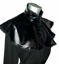 BLACK WET LOOK PVC LYCRA GLOSSY CAPE CLOAK VICTORIAN STEAMPUNK GOTH VAMP LACE