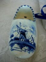 Unusual Vintage DELFT BLUE Hand Painted Windmill on Dutch Shoe - Made in Holland