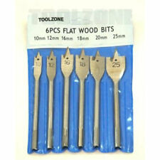 6 Pc Flat Wood drill Bit Set Size 10,12,16,18,20 & 25mm Hex Shaped Stem Joiners