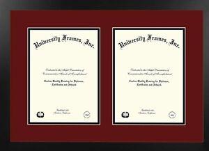 Two 11x14 opening diploma frame, studio black  frame, top maroon, bottom black