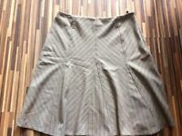 LOVELY LADIES M&S SIZE 16 BEIGE BROWN ZIGZAG FORMAL LINED SMART A LINE SKIRT W3