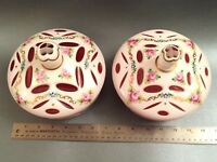"""2 STUNNING 7"""" MOSER BOHEMIAN WHITE CUT TO CRANBERRY OVERLAY GLASS CANDY DISHES"""