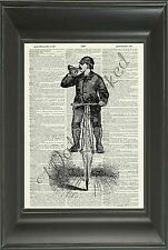 ORIGINAL - Man on Bike Art Print on Vintage Dictionary Book Page - Picture N506D