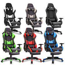 Gaming Chair Office Computer Seating Racing PU Executive Racer w/ Footrest