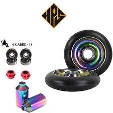 PRO STUNT SCOOTER PACK 2 100mm NEO CHROME METAL CORE WHEELS ABEC 11 BEARING PEGS