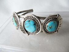 VINTAGE NAVAJO 3 STONE SILVER AND TURQUOISE CUFF BRACELET