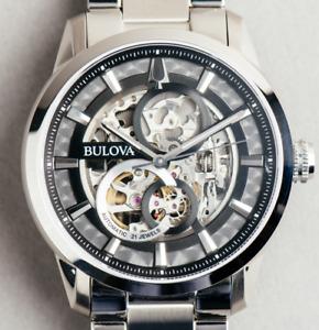 Bulova Sutton Skeleton Black Dial Automatic watch 43mm mens Swiss @WatchAdoption