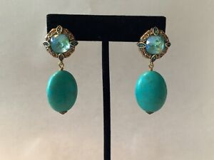 AUTHENTIC SIGNED HEIDI DAUS TURQUOISE & BLUE TOPAZ CRYSTAL OMEGA EARRINGS NR