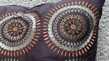 Z Gallerie 2 Large Pillows Embroidered Medallions Pair Brown Rust Beige 25 x 25""