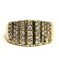 14k yellow gold .65ct SI1 H diamond cluster band ring 5.9g estate vintage womens