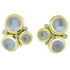 Temple St. Clair Trio Moonstone Diamond 18k Gold Earrings