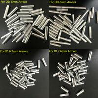 100PCS Aluminum Arrow Inserts Adapter for Carbon Wood Broadhead Archery Arrows