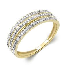 Women's Wedding BAND Diamond RING Natural 10k Yellow Gold 0.15 CT Size 5-11