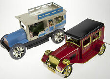 2x TIN TOY CLASSIC  CARS WIND UP CLOCKWORK IN GIFT BOX A COLLECTORS TOYS