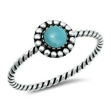 Ring Genuine Sterling Silver 925 Turquoise Oxidized Face Height 8 mm Size 7