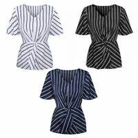 Women Short Batwing Sleeves Chiffon Tops Stripes Printed Ruched Blouse V-Neck