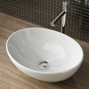 Waschschale Aufsatzwaschbecken Keramik Waschbecken Oval Bad WC 41x33x14 cm WS99
