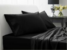 100% Cotton - (Attached Waterbed Sheet Set) 1000 TC All Size Black Solid